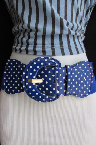 Black Blue Blue Royal Red White Low Hip / High Waist Stretch Wide Elastic White Polka Dots Stretch Belt New Women Fashion Accessories - alwaystyle4you - 21