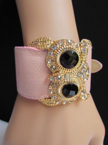 Aqua Blue / Pink / Light Pink / Black Faux Leather Strap Nude Bracelet Gold Metal Owl Head Black Rhinestone Fashion New Women Jewelry Accessories - alwaystyle4you - 16