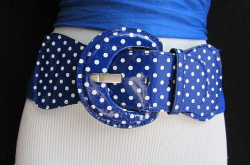Black Blue Blue Royal Red White Low Hip / High Waist Stretch Wide Elastic White Polka Dots Stretch Belt New Women Fashion Accessories - alwaystyle4you - 23
