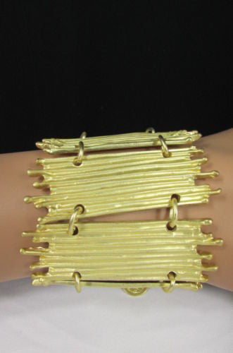 Gold Silver Metal Wide Elastic Stretch Bracelet Bamboo Plates New Women Fashion Jewelry Accessories - alwaystyle4you - 16