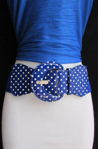 Black Blue Blue Royal Red White Low Hip / High Waist Stretch Wide Elastic White Polka Dots Stretch Belt New Women Fashion Accessories - alwaystyle4you - 25