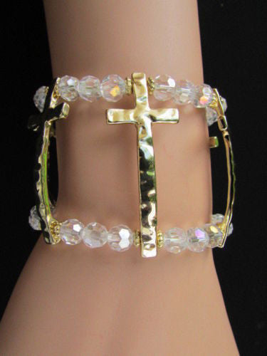 Gold Crosses Elastic Metal Cuff Bracelet Clear Beaded Trendy New Women Fashion Jewelry Accessories - alwaystyle4you - 5