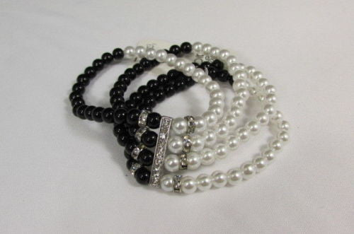 Black Cream / Pewter Black Imitation Pearl Beads Elastic Bracelet New Women Fashion Jewelry Accessories - alwaystyle4you - 11