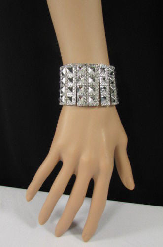 Silver Metal Elastic Bracelet Pyramid Punk Rocker Fashion New Women Jewelry Accessories - alwaystyle4you - 6