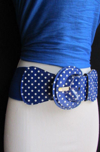 Black Blue Blue Royal Red White Low Hip / High Waist Stretch Wide Elastic White Polka Dots Stretch Belt New Women Fashion Accessories - alwaystyle4you - 28