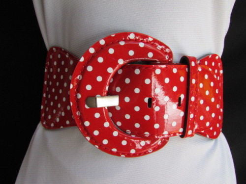 Black Blue Blue Royal Red White Low Hip / High Waist Stretch Wide Elastic White Polka Dots Stretch Belt New Women Fashion Accessories - alwaystyle4you - 4
