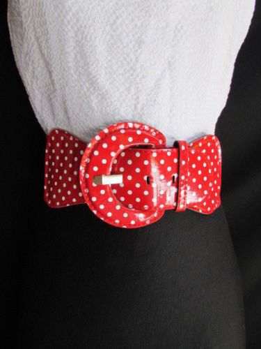 Black Blue Blue Royal Red White Low Hip / High Waist Stretch Wide Elastic White Polka Dots Stretch Belt New Women Fashion Accessories - alwaystyle4you - 31