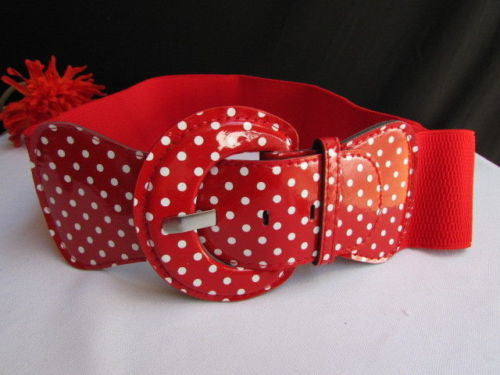 Black Blue Blue Royal Red White Low Hip / High Waist Stretch Wide Elastic White Polka Dots Stretch Belt New Women Fashion Accessories - alwaystyle4you - 32