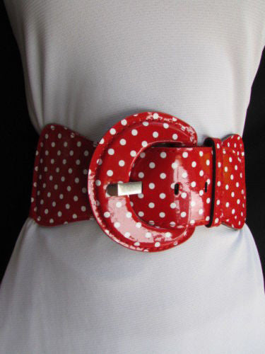 Black Blue Blue Royal Red White Low Hip / High Waist Stretch Wide Elastic White Polka Dots Stretch Belt New Women Fashion Accessories - alwaystyle4you - 34