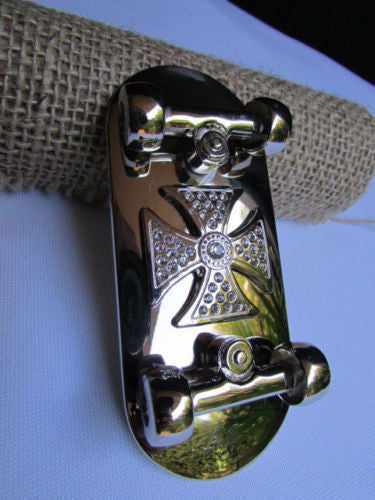 Silver Metal Large Skateboard Big Cross Punk Belt Buckle New Women Men Fashion Accessories