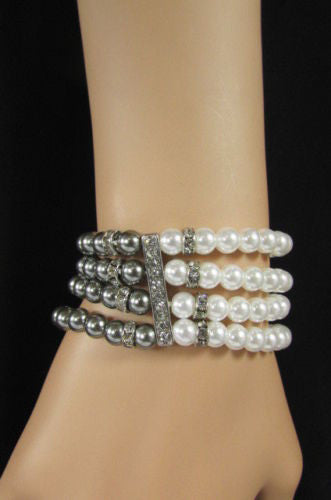 Black Cream / Pewter Black Imitation Pearl Beads Elastic Bracelet New Women Fashion Jewelry Accessories - alwaystyle4you - 29
