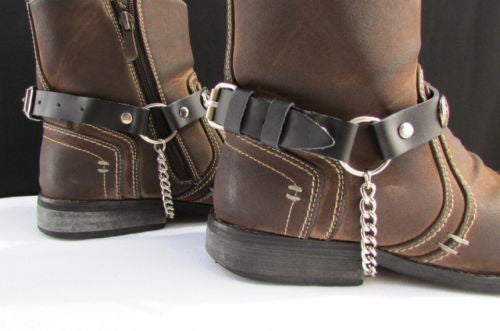 Biker Western Fashion New Unisex Western Star Boot Chain Silver Black Pair Leather Straps Bracelet - alwaystyle4you - 3