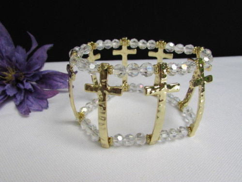 Gold Crosses Elastic Metal Cuff Bracelet Clear Beaded Trendy New Women Fashion Jewelry Accessories - alwaystyle4you - 6