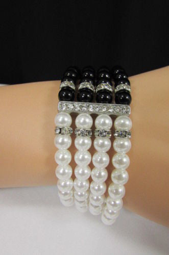 Black Cream / Pewter Black Imitation Pearl Beads Elastic Bracelet New Women Fashion Jewelry Accessories - alwaystyle4you - 8