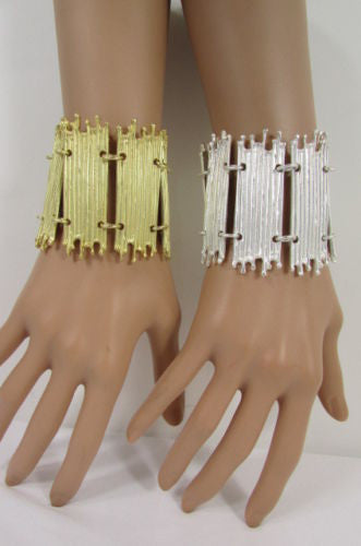 Gold Silver Metal Wide Elastic Stretch Bracelet Bamboo Plates New Women Fashion Jewelry Accessories - alwaystyle4you - 3