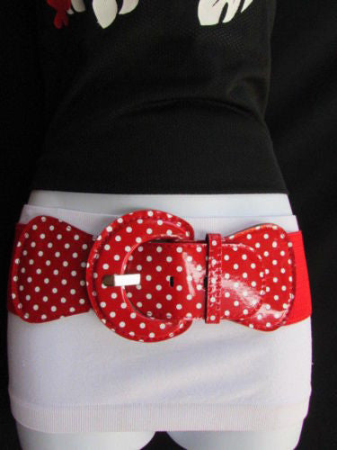 Black Blue Blue Royal Red White Low Hip / High Waist Stretch Wide Elastic White Polka Dots Stretch Belt New Women Fashion Accessories - alwaystyle4you - 36