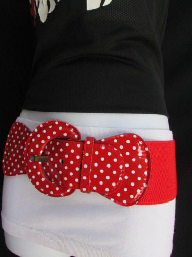 Black Blue Blue Royal Red White Low Hip / High Waist Stretch Wide Elastic White Polka Dots Stretch Belt New Women Fashion Accessories - alwaystyle4you - 38