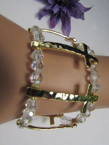 Gold Crosses Elastic Metal Cuff Bracelet Clear Beaded Trendy New Women Fashion Jewelry Accessories - alwaystyle4you - 4