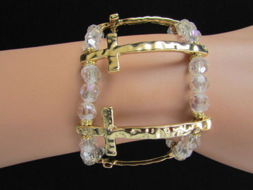 Gold Crosses Elastic Metal Cuff Bracelet Clear Beaded Trendy New Women Fashion Jewelry Accessories - alwaystyle4you - 7