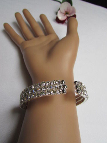 Silver Metal Cuff Dressy Bracelet Big Heart Fringes Multi Rhinestones New Women Fashion Jewelry Accessories - alwaystyle4you - 4