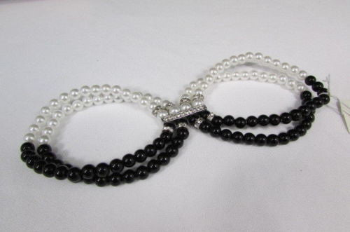 Black Cream / Pewter Black Imitation Pearl Beads Elastic Bracelet New Women Fashion Jewelry Accessories - alwaystyle4you - 7