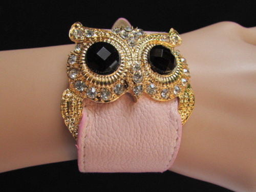 Aqua Blue / Pink / Light Pink / Black Faux Leather Strap Nude Bracelet Gold Metal Owl Head Black Rhinestone Fashion New Women Jewelry Accessories - alwaystyle4you - 3