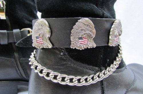 Eagle USA Flag New Biker Men Western Women Boot Silver Chain Pair Leather Straps - alwaystyle4you - 11