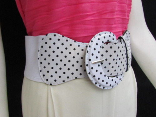 Black Blue Blue Royal Red White Low Hip / High Waist Stretch Wide Elastic White Polka Dots Stretch Belt New Women Fashion Accessories - alwaystyle4you - 49