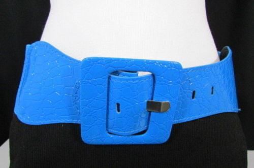 Beige Orange Black Brown Blue Light Blue White Red Purple Pink Gold Green Elastic Stretch Hip High Waist Belt Big Square Buckle New Women's Fashion Accessories XS S M L XL - alwaystyle4you - 9