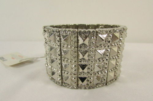 Silver Metal Elastic Bracelet Pyramid Punk Rocker Fashion New Women Jewelry Accessories - alwaystyle4you - 9