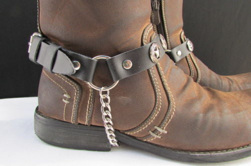 Biker Western Fashion New Unisex Western Star Boot Chain Silver Black Pair Leather Straps Bracelet - alwaystyle4you - 5