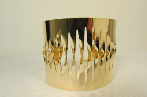 Gold Thin Metal Cuff Bracelet Cut Out Fans Shapes New Women Fashion Jewelry Accessories - alwaystyle4you - 7