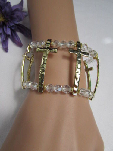 Gold Crosses Elastic Metal Cuff Bracelet Clear Beaded Trendy New Women Fashion Jewelry Accessories - alwaystyle4you - 8