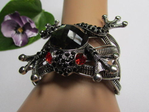 Silver Metal Cuff Bracelet Big Frog Black/Blue/ White Rhinestone Beads Red Eye New Women Fashion Jewelry Accessories - alwaystyle4you - 21