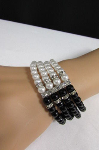 Black Cream / Pewter Black Imitation Pearl Beads Elastic Bracelet New Women Fashion Jewelry Accessories - alwaystyle4you - 25
