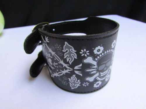 Black Faux Leather White Skull Bracelet Motorcycle Punk Rock Style  New Women Fashion Jewelry Accessories - alwaystyle4you - 10