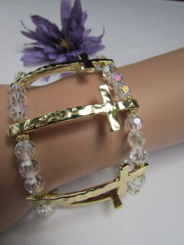 Gold Crosses Elastic Metal Cuff Bracelet Clear Beaded Trendy New Women Fashion Jewelry Accessories - alwaystyle4you - 9