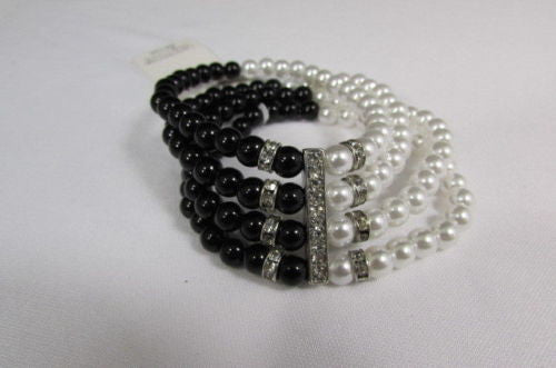 Black Cream / Pewter Black Imitation Pearl Beads Elastic Bracelet New Women Fashion Jewelry Accessories - alwaystyle4you - 20