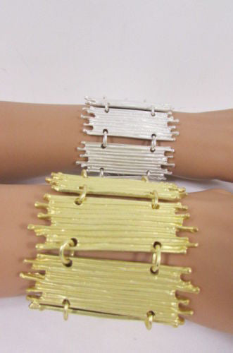 Gold Silver Metal Wide Elastic Stretch Bracelet Bamboo Plates New Women Fashion Jewelry Accessories - alwaystyle4you - 6