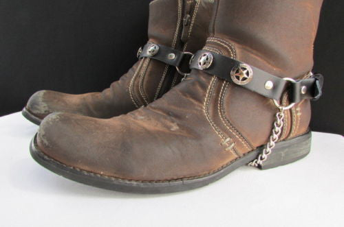 Biker Western Fashion New Unisex Western Star Boot Chain Silver Black Pair Leather Straps Bracelet - alwaystyle4you - 6