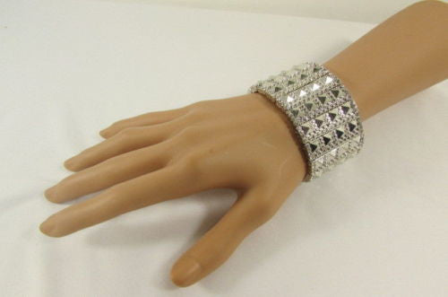 Silver Metal Elastic Bracelet Pyramid Punk Rocker Fashion New Women Jewelry Accessories - alwaystyle4you - 10