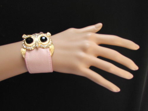 Aqua Blue / Pink / Light Pink / Black Faux Leather Strap Nude Bracelet Gold Metal Owl Head Black Rhinestone Fashion New Women Jewelry Accessories - alwaystyle4you - 10