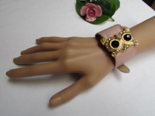 Aqua Blue / Pink / Light Pink / Black Faux Leather Strap Nude Bracelet Gold Metal Owl Head Black Rhinestone Fashion New Women Jewelry Accessories - alwaystyle4you - 11