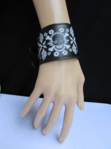 Black Faux Leather White Skull Bracelet Motorcycle Punk Rock Style  New Women Fashion Jewelry Accessories - alwaystyle4you - 1