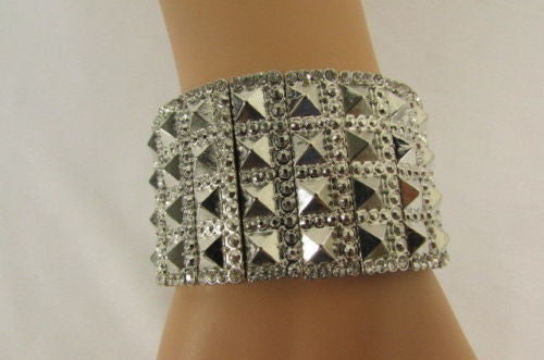 Silver Metal Elastic Bracelet Pyramid Punk Rocker Fashion New Women Jewelry Accessories - alwaystyle4you - 11