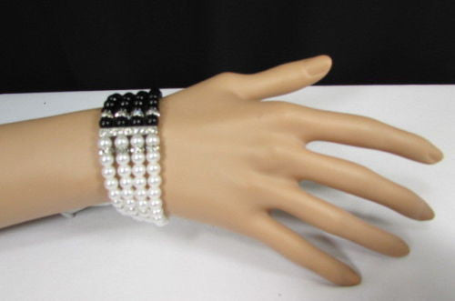 Black Cream / Pewter Black Imitation Pearl Beads Elastic Bracelet New Women Fashion Jewelry Accessories - alwaystyle4you - 3