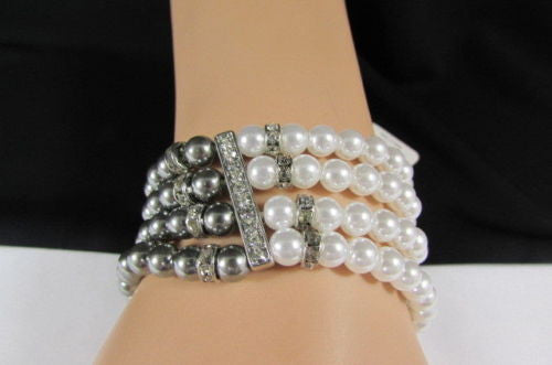Black Cream / Pewter Black Imitation Pearl Beads Elastic Bracelet New Women Fashion Jewelry Accessories - alwaystyle4you - 2