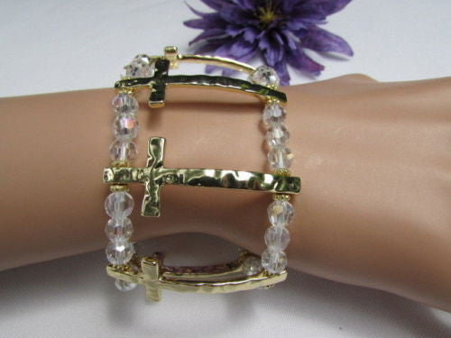 Gold Crosses Elastic Metal Cuff Bracelet Clear Beaded Trendy New Women Fashion Jewelry Accessories - alwaystyle4you - 11