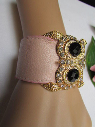 Aqua Blue / Pink / Light Pink / Black Faux Leather Strap Nude Bracelet Gold Metal Owl Head Black Rhinestone Fashion New Women Jewelry Accessories - alwaystyle4you - 12