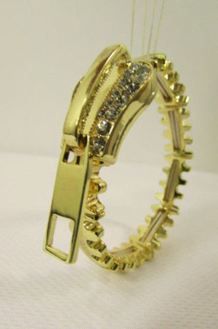 Gold Metal Thin Bracelet Big Zipper Silver Rhinestones New Women Fashion Jewelry Accessories - alwaystyle4you - 1